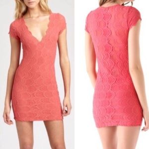 Nightcap Deep V Cap Sleeve Lace Dress: Coral